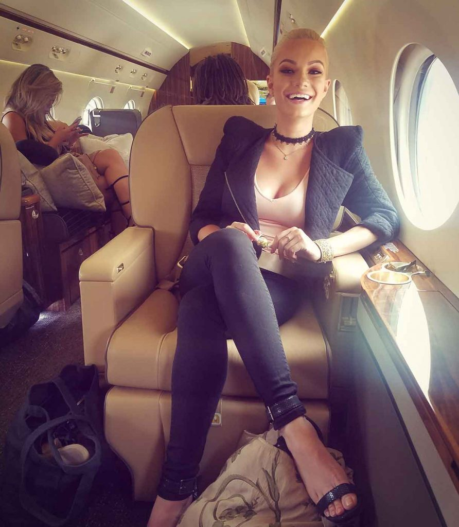 Caitlin O'Connor on a Plane